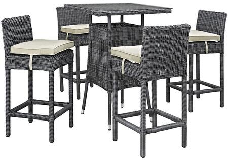 Modway Summon Collection 5 PC Outdoor Patio Pub Set with Sunbrella Fabric, Synthetic Rattan Weave, Powder Coated Aluminum Frame, Water and UV Resistant in