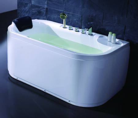 Eago EAGO LK1103-X Soaking Tub with Acrylic, 1 Person Capacity, Tub Filter, Hand Held Shower and  Head  Rest in White
