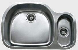 "Ukinox D537703010 32"" Wide Undermount Double Bowl Sink - 18-Gauge: Stainless Steel"