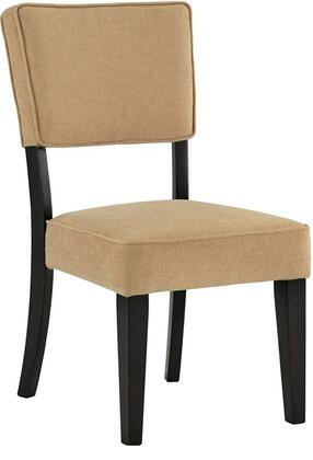 Milo Italia DR-343USC Zandra Dining Upholstered Side Chair with Textured Fabric Seat, Welted Box Chair Back and Hardwoods in