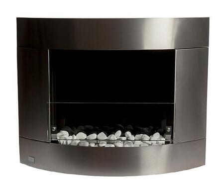 Bio-Blaze Diamond I Collection BBD1X Wall Mounted Ethanol Fireplace with Safety Glass, Extinguisher and Marble Stones