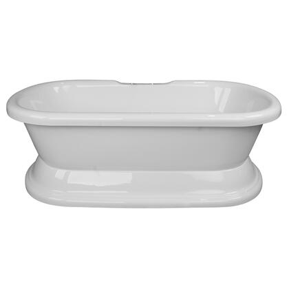 """Barclay ATDR72B Calliope 72"""" Acrylic Double Roll Top Soaking Tub, with White Tub Finish, No Overflow, with Moulded Pedestal Base in White Finish,"""