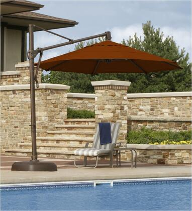 Bimini 11' Octagon Umbrella with No Valance, Standard View and Set Up poolside (Acrylic)