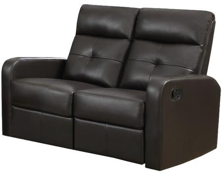 "Monarch I 85YYY 50"" Reclining Love seat with Bonded Leather, Padded Head Rest and Lumbar Support"