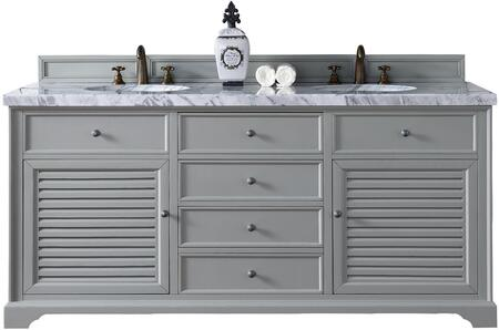 "James Martin Savannah Collection 238-104-V72-UGR- 72"" Urban Gray Double Vanity with Two Soft Closing Doors, Three Soft Closing Drawers, Antique Pewter Hardware and"