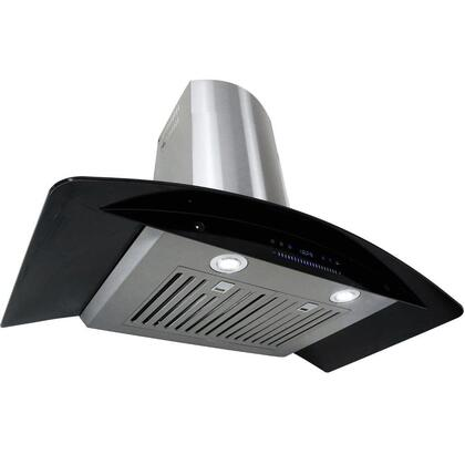 "Golden Vantage GWR73N30 30"" Wall Mount Range Hood with 760 CFM, 65 dB, Innovative Touch, 2W LED Lighting, 4 Fan Speed, Stainless Steel Baffle Filter and X: Black"
