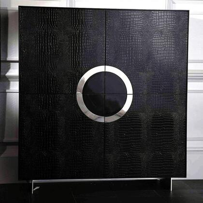 "VIG Furniture VGUNAA611-120- Armani Xavira Ovidius 50"" Tall Buffet with 4 Shelves, 4 Doors, Laser-Cut Crocodile Textured Pattern and Stainless Steel Circular Design in"