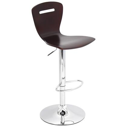 "LumiSource H2 BS-TW-H2 32"" - 41"" Barstool with 360-Degree Swivel, Bent Wood Seat & Backrest and Adjustable Height in"