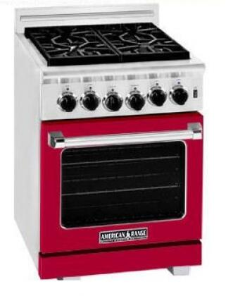 American Range ARR244LBR Heritage Classic Series Gas Freestanding Range with Sealed Burner Cooktop, 3.8 cu. ft. Primary Oven Capacity, in Red