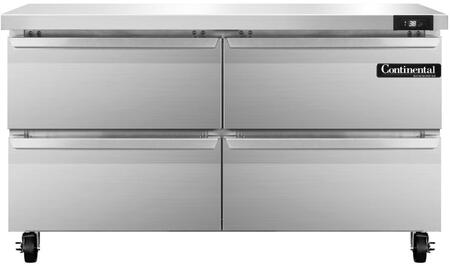 """Continental Refrigerator SW4 48"""" Worktop Refrigerator with 2 Doors, 13.4 Cu. Ft. Storage Capacity, Stainless Steel Exterior and Interior, 5"""" Casters, Interior Hanging Thermometer, and R134-a Refrigerant, in Stainless Steel"""