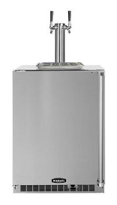 """Marvel 60HKTSSBL Solid Stainless Steel Door 24"""" Outdoor Beer Dispenser with Twin Tap, 6.54 Storage Capacity, Dynamic Cooling Technology, Close Door Assist System and Removable Shelves:"""