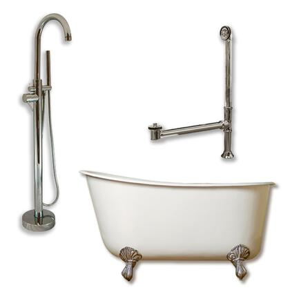 """Cambridge SWED58150PKG Cast Iron Swedish Slipper Tub 58"""" x 30"""" with no Faucet Drillings and Complete Modern Freestanding Tub Filler with Hand Held Shower Assembly Plumbing Package"""
