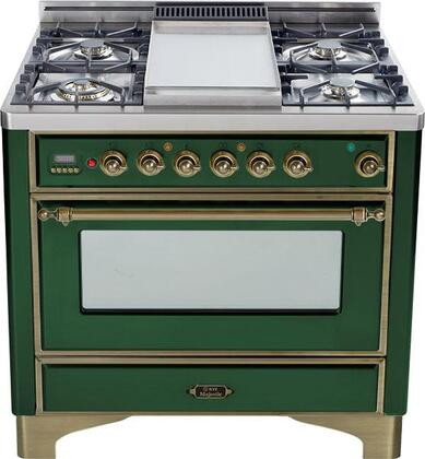 "Ilve UM906MPVSY 36"" Majestic Series Dual Fuel Freestanding Range with Sealed Burner Cooktop, 2.8 cu. ft. Primary Oven Capacity, Warming in Emerald Green"