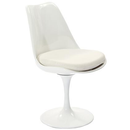 Modway EEI115WHI Lippa Series Modern Fabric Plastic Frame Dining Room Chair