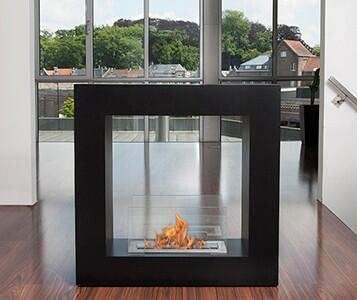 Bio-Blaze BB-QS Qube Freestanding Bio Ethanol Fireplace with 1 Adjustable Burner, 9553 BTU Heat Capacity, 4 Casters, 2 Heat Resistant Glasses, Extinguish Tool and Powder Coated Steel