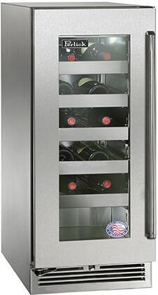 "Perlick HP15WO33xC 15"" Signature Series Outdoor Wine Reserve with Rapidcool Forced Air Refrigeration System, Stainless Steel Interior and Commercial-Grade 525 BTU Variable-Speed Compressor, in Glass Door with Stainless Steel and"