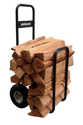 "Landmann 8242X Firewood Log Caddy with 10"" Pneumatic tires, Black All-Weather Canvas Cover and Steel Tubular Frame in"