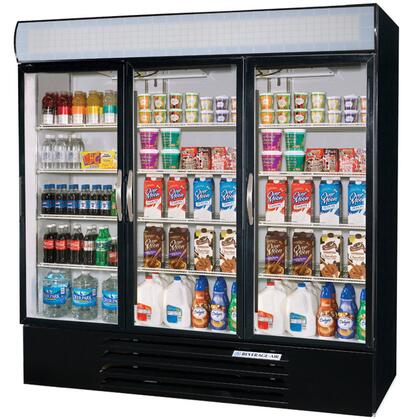 """Beverage-Air MMF72-5 MarketMax 75"""" Three Section Glass Door Reach-In Merchandiser Freezer with LED Lighting, 72 cu.ft. Capacity, [Color] Exterior, [Electronic Lock] and Bottom Mounted Compressor"""