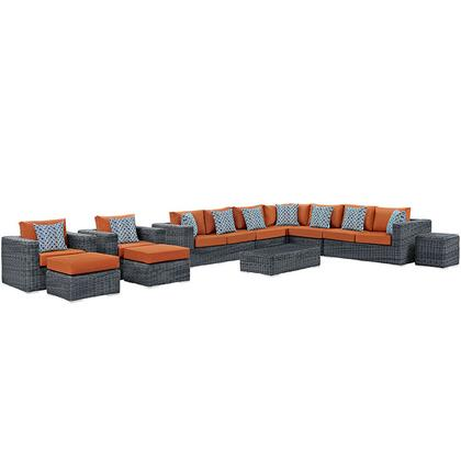 Modway Summon Collection EEI-2394- 11-Piece Outdoor Patio Sunbrella Sectional Set with Coffee Table, Corner Section, Left Arm Loveseat, Right Arm Loveseat, Side Table, 2 Armchairs, 2 Armless Sections and 2 Ottomans in