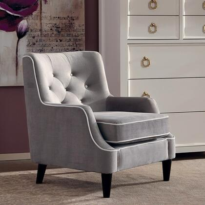 """Donny Osmond Home Accent Seating Collection 34"""" Accent Chair with Button Tufted Back, Black Tapered Legs, Piped Stitching, Wood Construction and Fabric Upholstery in Grey Color"""