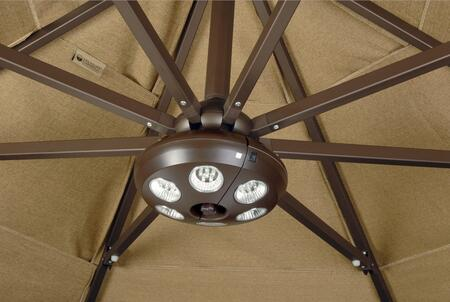 Rechargable 6-Light Bronze Umbrella Light Shown in Position Under Canopy