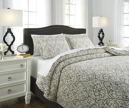 Signature Design by Ashley Danila Q283003 3 PC Size Duvet Cover Set with 1 Duvet Cover, 2 Standard Shams with Traditional Jacquard Design and Cotton Material in Brown and Cream Color