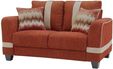 "Glory Furniture 60"" Loveseat with Pocketed Coil Foam Encased Seat Cushions, Throw Pillows and Fabric Upholstery in"
