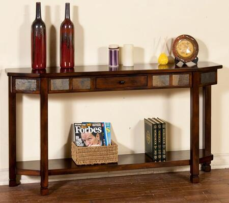 "Sunny Designs Collection 2224X 60"" Entry Console with Natural Slate Accents, Bottom Shelf and Drawer in"