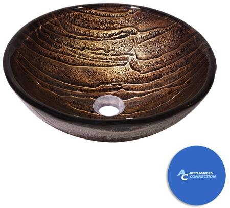 """Kraus CGV39819MM15000 Nature Series 17"""" Gaia Round Vessel Sink with 19-mm Tempered Glass Construction, Easy-to-Clean Polished Surface, and Included Ventus Faucet"""