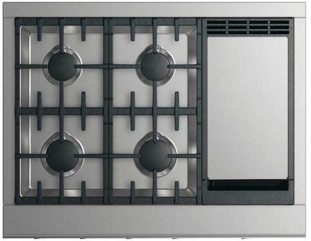 "DCS CPV2-364GD 36"" Professional Cooktop with 4 Sealed Dual Flow Burners, Griddle, Halo-Illuminated Dials, and Easy to Clean: Stainless Steel"