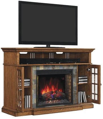 Classic Flame 28MM6307 Lakeland Media Console Fireplace with Tiered Molding Mantel Top, Adjustable Wood Shelves and Integrated Wire Management in