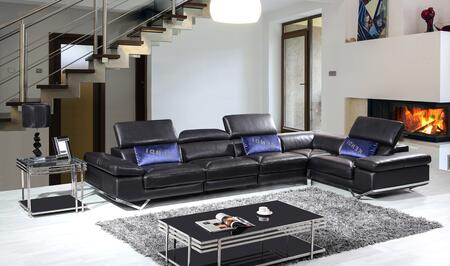 VIG Furniture VGKNK8489ITLBLK Divani Casa Series Stationary Leather Sofa