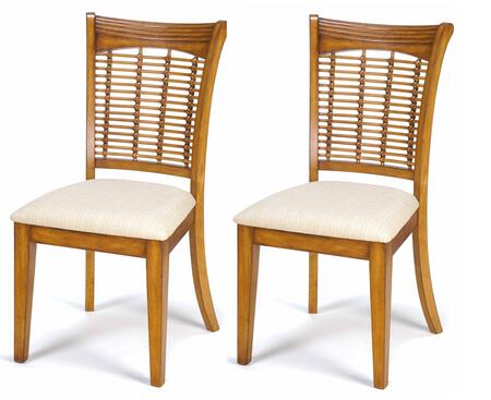 "Hillsdale Furniture 47802 Set of 2 Bayberry 21.5"" Wicker Side Chair with Cream Fabric Seat, Bamboo Effect Back and Plywood Construction in"