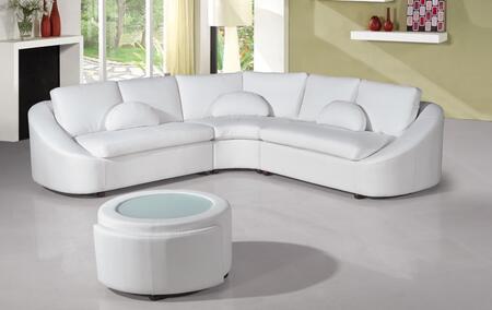 VIG Furniture VGEVSP2224W Divani Casa Series Curved Bonded Leather Sofa
