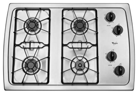 "Whirlpool W3CG3014XS 31"" Gas Sealed Burner Style Cooktop"