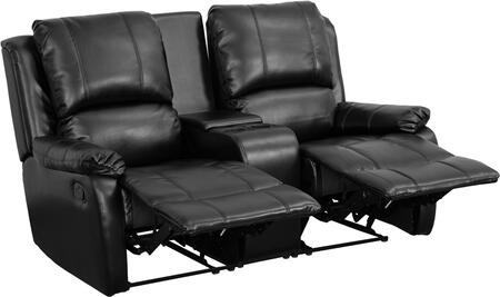 Flash Furniture BT702952GG Leather Pillowtop 2-Seat Home Theater Recliner with Storage Console