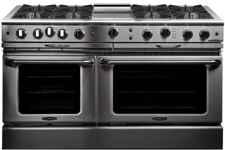 """Capital Culinarian Series CGSR604G4-X 60"""" Freestanding X Range with 8 Open Burners, Primary 4.6 Cu. Ft. Oven Cavity, Secondary 3.1 Cu. Ft. Oven Capacity, and Dual Convection Air Flow, in Stainless Steel"""