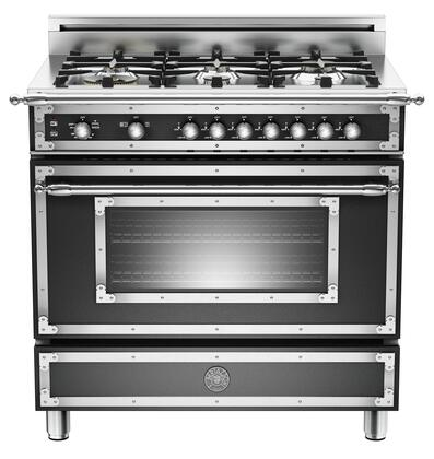 "Bertazzoni Heritage Series HER366GASXLP 36"" Liquid Propane Range With 6 Brass Burners, 18,000 BTUs Dual Power Burner, Round Metal Knobs, 4.4 cu. ft. Gas Convection Oven, Telescopic Glide Shelves"