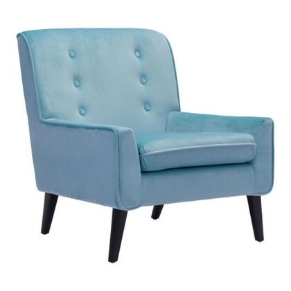 """Zuo 10022A Coney 32.3"""" Living Room Chair with Tapered Legs, Button Tufting and Ultra Soft Poly-silk Velvet Fabric Upholstery"""