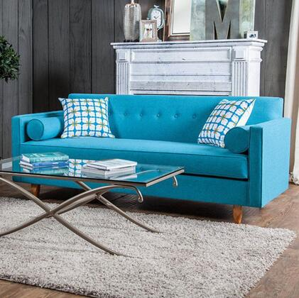 "Furniture of America Madelyn Collection SM881X-SF 80"" Sofa with Removable Seat Cushion, Button Tufting, Round Tapered Legs and Slim Track Arms in"