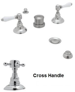 Rohl A1460XM Italian Country Bath Collection Widespread Bidet Faucet with Five Holes and Cross Handles in