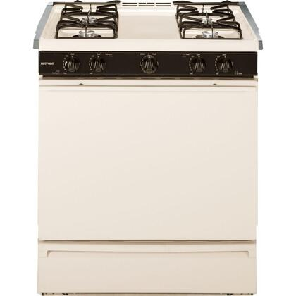 "Hotpoint RGB508PEF 30"" Freestanding Range with 4.8 cu. ft. Oven Capacity, 2 Oven Racks, Electronic Pilotless Ignition, Broiler Drawer and 4 Open Burners:"