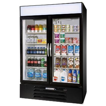 """Beverage-Air MMR49-1 MarketMax 52"""" Two Section Glass Door Reach-In Merchandiser Refrigerator with LED Lighting, 49 cu.ft. Capacity, [Color] Exterior, [Electronic Lock] and Bottom Mounted Compressor"""