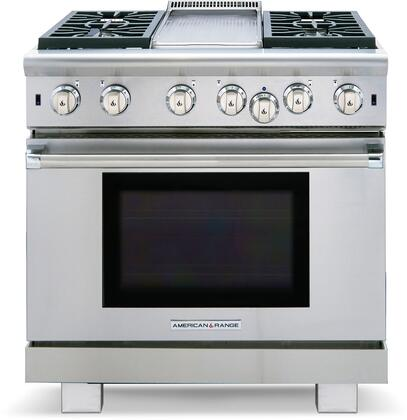 """American Range ARR-436GD 36"""" Cuisine Series Gas Range with 5.3 cu. ft. Oven Capacity, 4 Sealed Burners, 11"""" Griddle, Convection Oven with Infrared Broiler, in Stainless Steel:"""