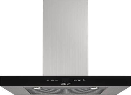 Wolf VWBXXB Wall Mounted Chimney Hood with Dishwasher-safe Filters, Telescoping Chimney, Front-mounted Electronic Controls, and LED Lighting, in Stainless Steel with Black Glass Front Panel