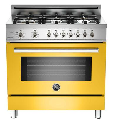 "Bertazzoni PRO366DFSGILP 36"" Professional Series Dual Fuel Freestanding Range with Sealed Burner Cooktop, 4.0 cu. ft. Primary Oven Capacity, in Yellow"