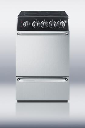"Summit REX204BLSSR 20"" Slide-in Electric Range with Smoothtop Cooktop Storage 2.62 cu. ft. Primary Oven Capacity"