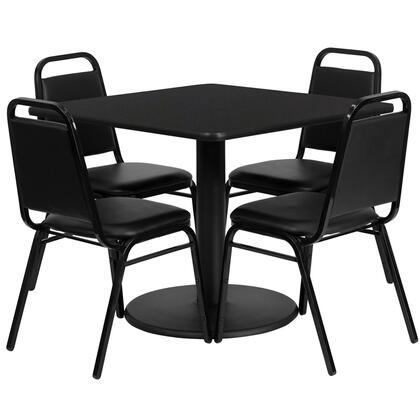 "Flash Furniture RSRB1X0X-GG 36"" Square Laminate Table Set with 4 Black Trapezoidal Back Banquet Chairs, Commercial Design, and Heavy Duty Construction"