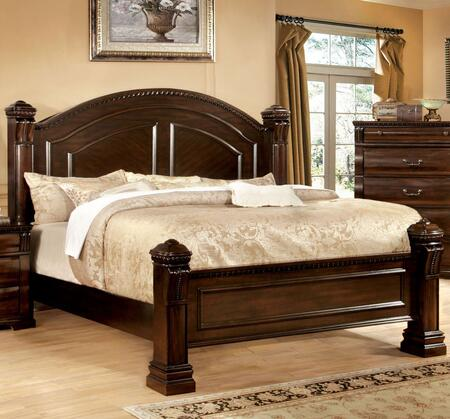 Furniture of America Burleigh CM7791X Bed with Transitional Style, Full Extension Glides, Solid Wood and Wood Veneer in Cherry Finish