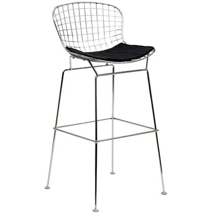 "Modway EEI-162 CAD 30"" Bar Stool with Stainless Steel Frame, Vinyl Seat Pad, and Plastic Non-Marking Feet"